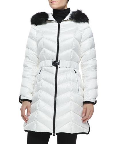 Natashia Belted Puffer Coat W/ Faux-Fur Trim