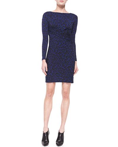 Long-Sleeve Animal-Print Draped Dress