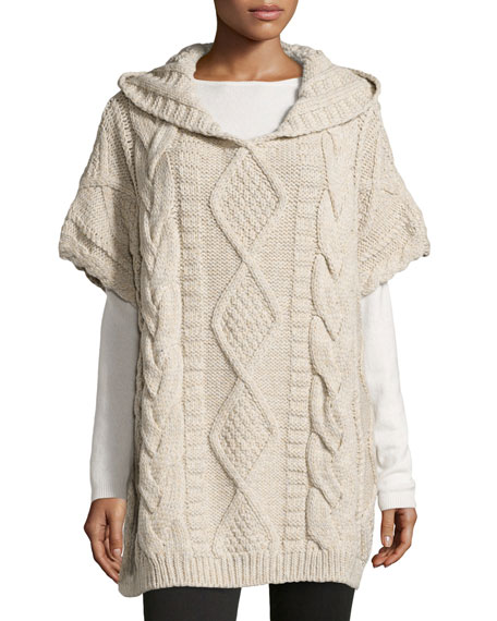 Haute Hippie Cable Knit Hooded Sweater Oatmeal