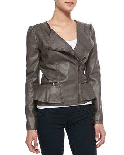 Peplum Asymmetric-Zip Faux-Leather Jacket, Mushroom
