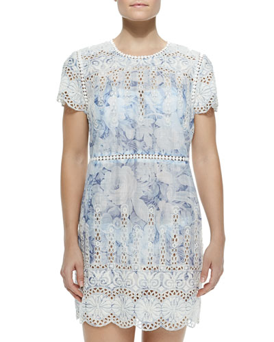 Confetti Short-Sleeve Dress W/ Scallop Trim