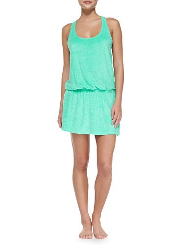 Sleeveless Terry Cloth Dress W/ Crisscross Back