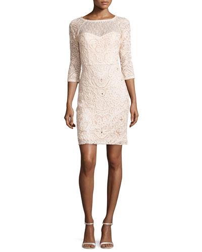 3/4-Sleeve Embroidered Sheath Dress, Blush