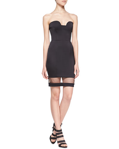 Crete Strapless Dress with Sheer Panel