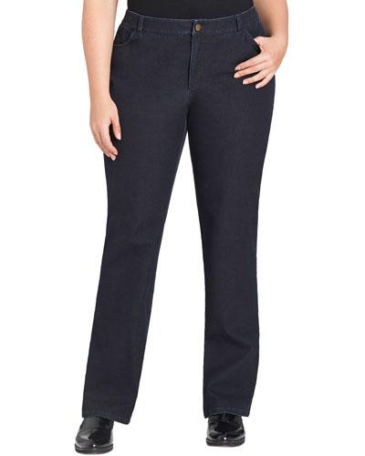 Curvy Bi-Stretch Slim-Leg Jeans, Dark Indigo, Women's