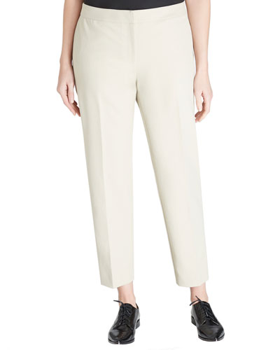Front-Zip Slim Ankle Pants, Khaki, Women's