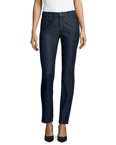 Curvy Bi-Stretch Slim-Leg Jeans, Midnight, Women's