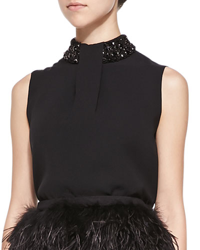 Yves Sleeveless Top with Beaded Neck