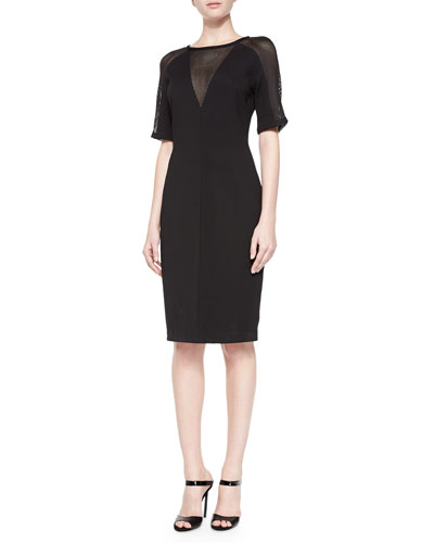 Amabella Mesh-Detail Sheath Dress