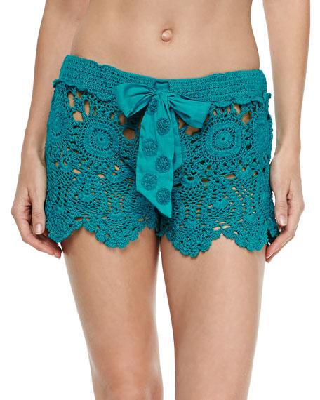 e173215985 Letarte Crochet Coverup Shorts, Teal