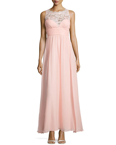 Lace Illusion Gown with Sweetheart Neckline