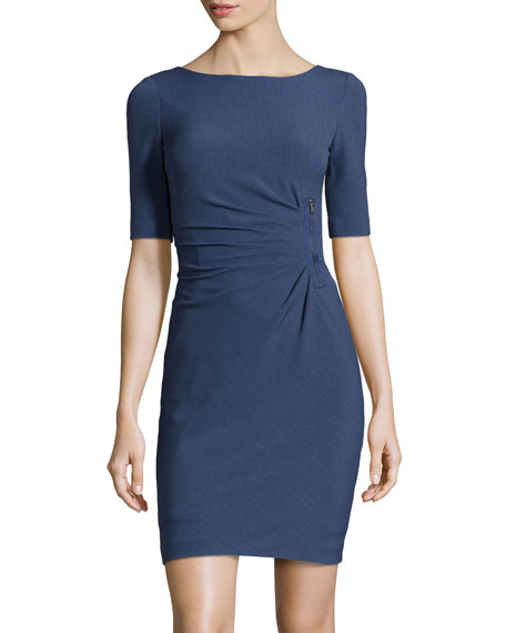 ae433b054624 Tahari ASL Zip-Detailed Gathered Dress, Denim