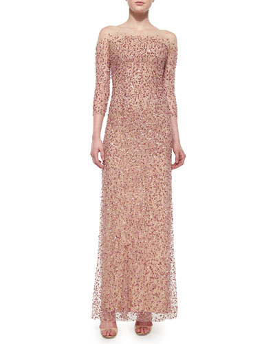 Beaded Strapless Illusion Gown