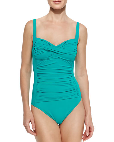Ruched-Center One-Piece Swimsuit, Women's