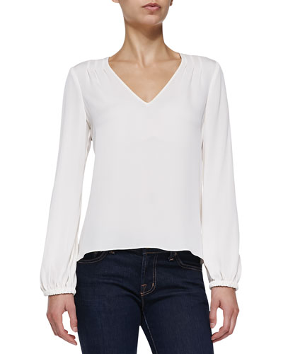 Arlenis Long-Sleeve Silk Top, Ivory