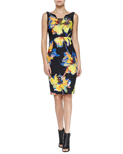 Ella Sleeveless Pop Art Floral-Print Dress