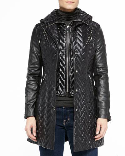 Sly Sleeve Chevron Coat W/ Eco Leather Sleeves