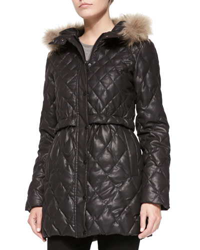 Ava Metallic Puffer W/ Fur-Trimmed Hood