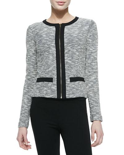 Tweed Zip-Front Cardigan
