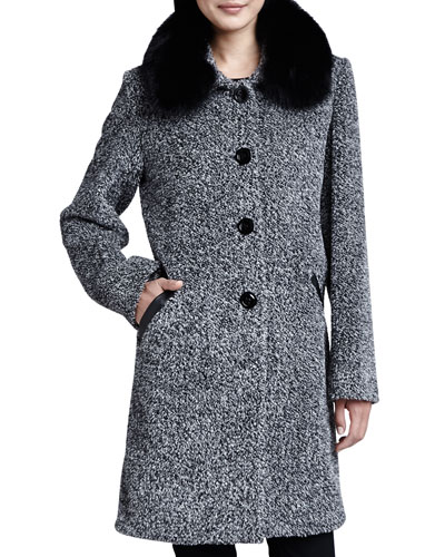 Tweed Button-Front Fur Collar Coat