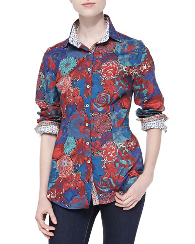 Long-Sleeve Floral Blouse W/ Contrast Lining