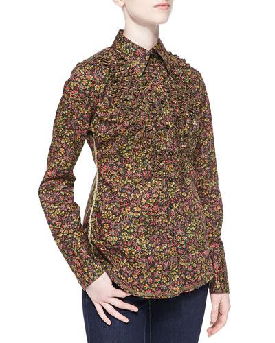 Long-Sleeve Floral Blouse W/ Ruffles
