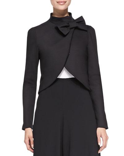 Bow-Neck Jacket with Round Hem, Black