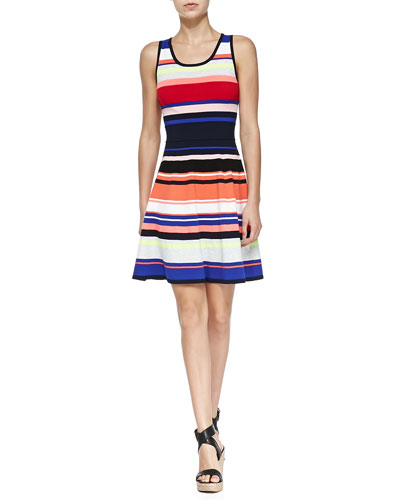 Sleeveless Striped Flared Dress