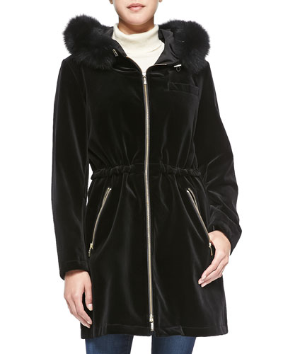 Velvet Fur-Trim Hooded Drawstring Parka