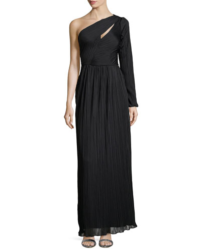 One-Sleeve Pleated Gown, Black