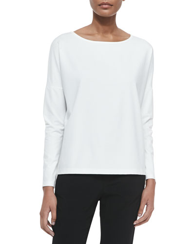 Long-Sleeve Tee with Boat Neck, White