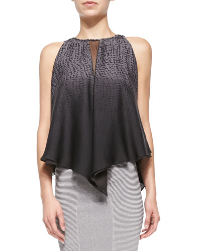 Printed Sleeveless Top W/ Illusion Cutout