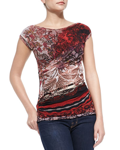 Short-Sleeve Ruched Lace-Print Top