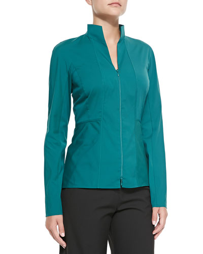 Two-Zip Cotton-Stretch Shirt, Winter Green