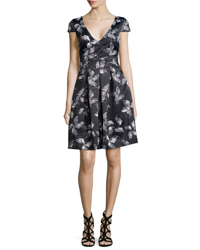 Cap-Sleeve Floral Dress