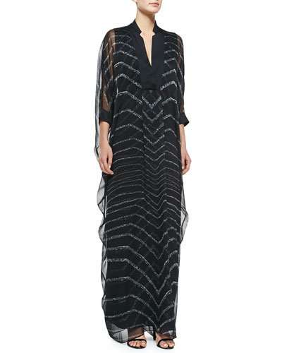 Elbow-Sleeve Chevron Caftan Gown