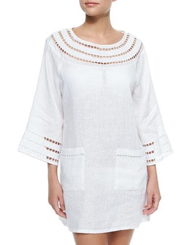 Solamir Cutout-Trim Linen Dress