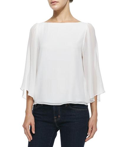 Josie Bell-Sleeve Silk Top