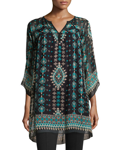 Sun City Printed 3/4-Sleeve Tunic