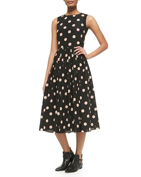 Polka Dot Fit Flare Dress