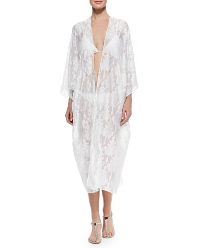 Babani Sheer Embroidered Open Coverup