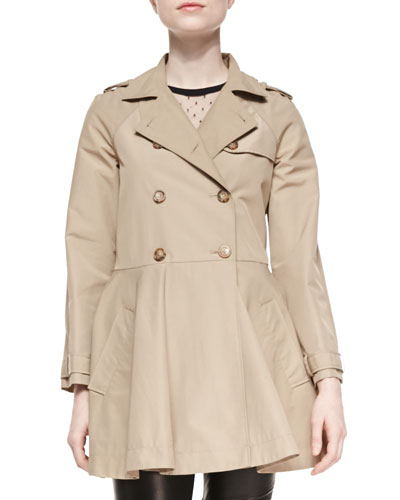 Double-Breasted A-line Skirt Trench Coat