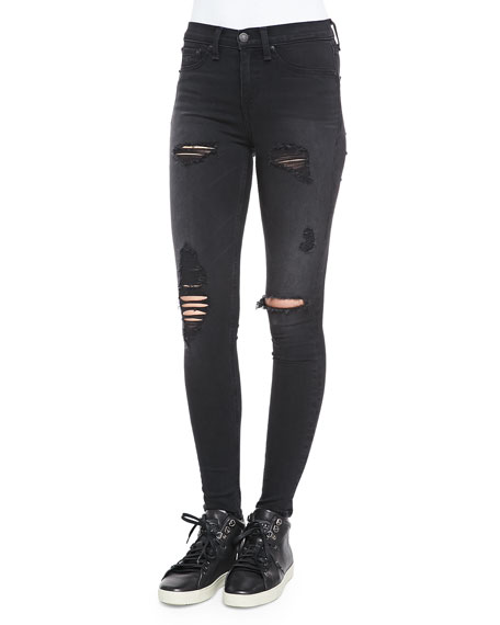 95cb73f6acac26 rag & bone/JEAN High-Rise Distressed Legging Jeans, Black