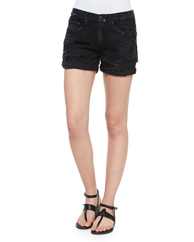 Boyfriend Distressed Roll-Cuff Shorts