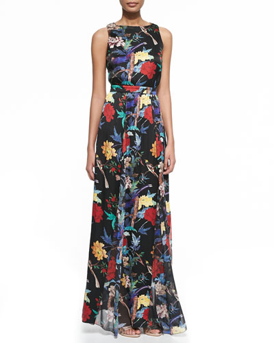 Elis Floral-Print Silk Maxi Dress