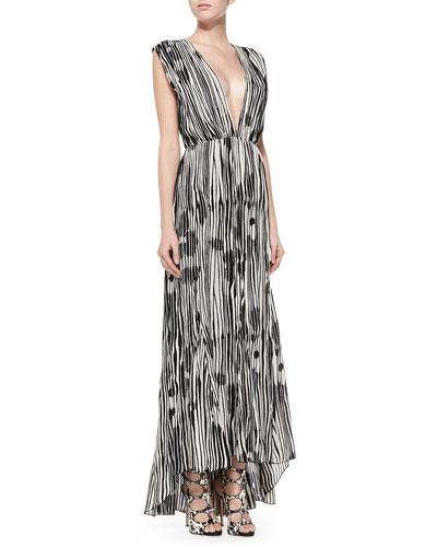 Lexa Printed Plunge-Neck Maxi Dress