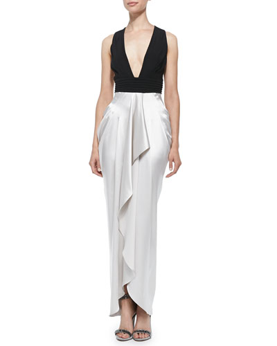Sleeveless Gown W/ Draped Ruffle Skirt