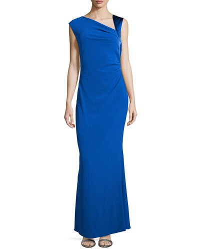 Asymmetric Neck Ruched Gown