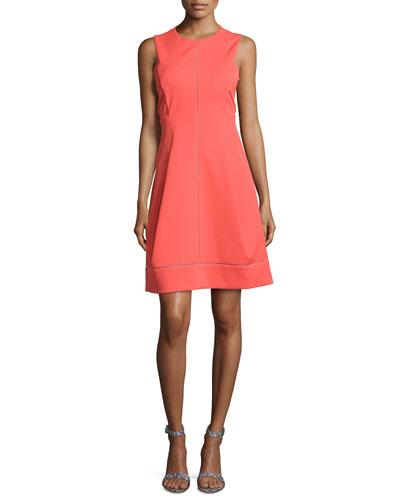 Crewneck Short A-line Dress, Siren Red