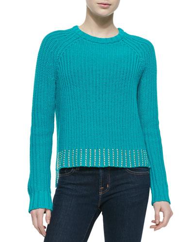 Crewneck Sweater with Studded Hem, Blue